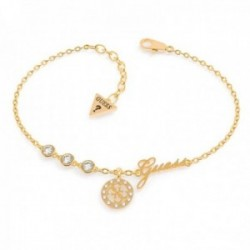 Pulsera Guess Miniature UBB79042-S acero inoxidable chapada oro colgante logo cristales Swarovski