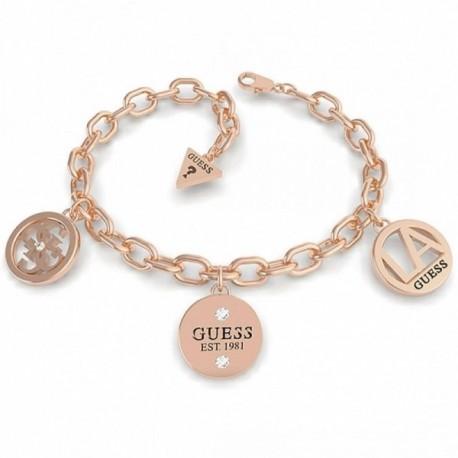 Pulsera Guess L.A. UBB79052-S acero inox. chapada oro rosa tres colgantes logo cristales Swarovski