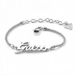 Pulsera Guess Logo Power UBB79102-S acero inoxidable chapada rodio logo cadena diamantada mosquetón