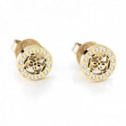 Pendientes Guess Miniature UBE79034 acero inoxidable chapados oro logo cerco cristales Swarovski