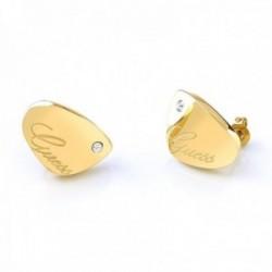 Pendientes Guess Liquid UBE79136 acero inoxidable chapados oro lisos logo cristales Swarovski