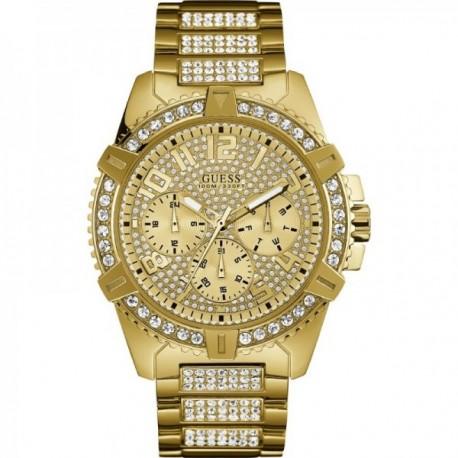 Reloj Guess hombre W0799G2 Frontier dorado piedras bisel esfera correa acero inoxidable