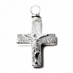 Colgante plata Ley 925m guarda cenizas 27mm. cruz crucifijo Cristo fondo tallado