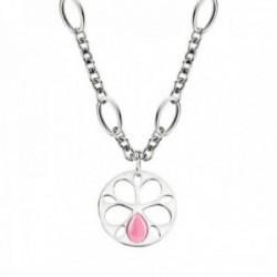Colgante Morellato SATE07 cadena 40cm. acero inoxidable colección Fiore ojo de gato rosa mujer