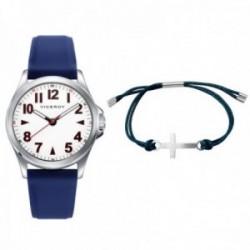 Juego pack reloj Viceroy 42397-04 niño colección Next azul pulsera cruz acero inox. adaptable cuerda