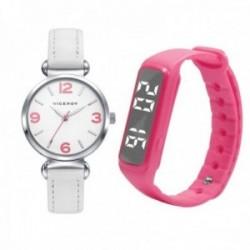 Juego pack reloj Viceroy 461132-05 niña colección Sweet blanco cuero acero inox. SmartBand rosa