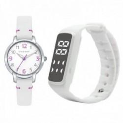 Juego pack reloj Viceroy 461136-05 niña colección Sweet cuero acero inoxidable SmartBand blanco