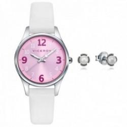 Juego pack reloj Viceroy 42404-75 niña colección Sweet esfera rosa pendientes plata Ley 925m flor