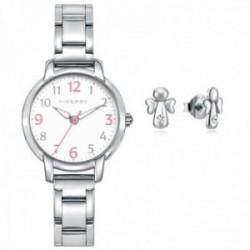 Juego pack reloj Viceroy 461138-05 niña colección Sweet acero inox. pendientes plata Ley 925m ángel