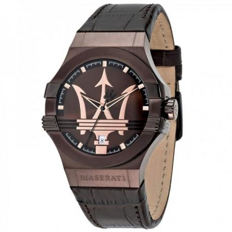 Reloj Maserati hombre R8851108011 Potenza acero inoxidable detalle logo marrón correa piel