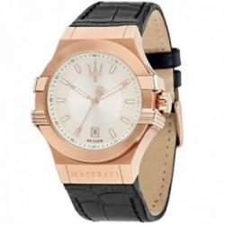 Reloj Maserati hombre R8851108019 Potenza acero inoxidable esfera líneas detalle correa piel