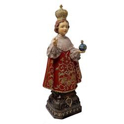 Figura Niño Jesús de Praga adorno 30cm. resina peana decoración