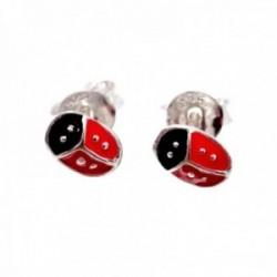 Pendientes plata Ley 925m mariquita 6mm. niña esmaltados rojos cierre presión