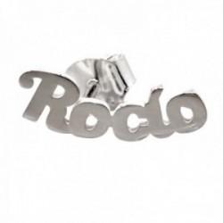 Pendiente suelto plata Ley 925m medio par nombre Rocío liso lóbulo izquierdo cierre presión
