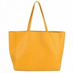 Bolso shopper Lola Casademunt eco-piel mostaza logo interior antelina bolsa organizadora rayas