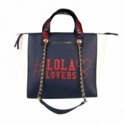 Bolso shopper Lola Casademunt eco-piel azul marino blanco crudo LOLA LOVERS cremallera dorada