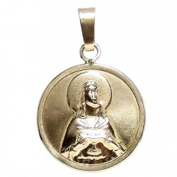 Medalla Gold Filled Santa Lucía brillo lisa detrás [2461]