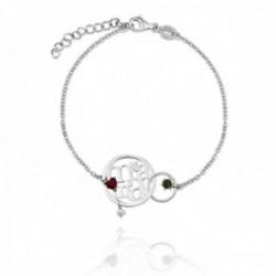 Pulsera plata Ley 925m rodiada MAMÁ 17cm. detalle entrelazado calado piedras color corazón flor