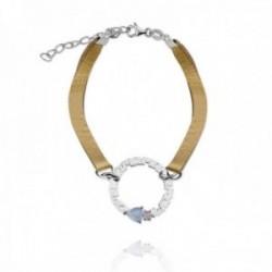 Pulsera plata Ley 925m rodiada MAMÁ 17cm. círculo palabra corazón piedras colores polipiel dorada