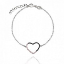 Pulsera plata Ley 925m rodiada Verutia Irene 16.5cm. corazón circonitas engastadas rosas negras