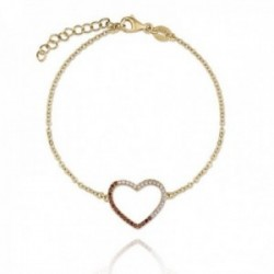Pulsera plata Ley 925m dorada Verutia Julieta 16.5cm. corazón circonitas engastadas rosas naranjas