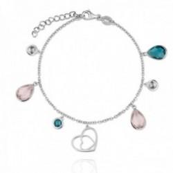 Pulsera plata Ley 925m rodiada Verutia Gante 16.5cm. corazones unidos piedras colores circonitas