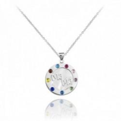 Gargantilla plata Ley 925m rodiada cadena 38.5cm colgante MAMÁ borde liso piedras colores base nácar