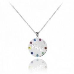Gargantilla plata Ley 925m rodiada cadena 38.5cm. colgante MAMÁ borde piedras colores palabra calada