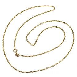 Cadena oro 18k  maciza barbada combinada diamantada 45cm. cierre reasa