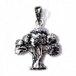 Colgante plata Ley 925m árbol 23mm. olivo mate detalles tallados brillo