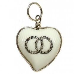 Colgante Gold Filled corazón alianzas resina imitación marfil [2558]