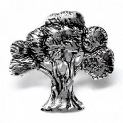 Pin plata Ley 925m árbol 19mm. olivo mate detalles tallados brillo