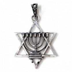 Colgante plata Ley 925m Menorá macizo 27mm. candelabro 7 brazos estrella David 6 puntas tallado