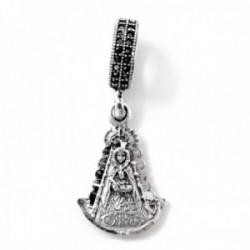 Charm icono plata Ley 925m macizo 17mm. Virgen del Rocío detalles tallados trasera manto