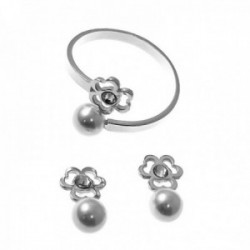 Juego plata Ley 925m Primera Comunión sortija abierta pendientes flor calada perla circonita