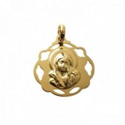 Medalla colgante plata Ley 925m chapada oro 20mm. Virgen Niña lisa cerco formas caladas