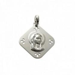 Medalla colgante plata Ley 925m Virgen Niña 25mm. forma rombo lisa puntas detalles calados