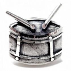 Pin plata Ley 925m tambor 17mm. detalles tallados brillo