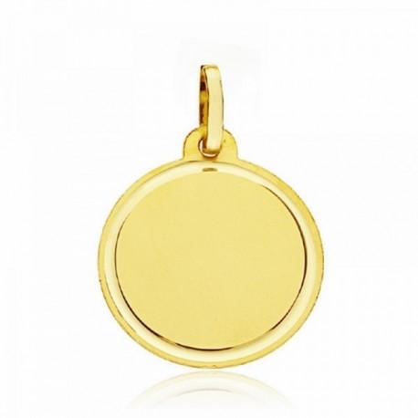 Medalla oro 18k disco liso tallado 18mm. fondo mate cerco brillo grabación imagen incluida en precio