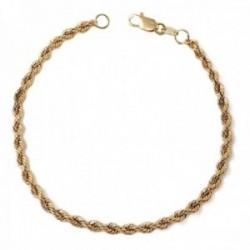 Pulsera oro 18k cadena cordón 19cm. lisa cierre mosquetón