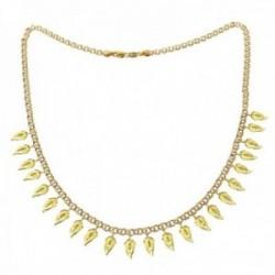 Gargantilla oro 18k Mayra 44.5cm. hojas colgando detalles tallados cierre mosquetón