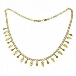 Gargantilla oro 18k Mayra 45.5cm. formas lisas hojas detalles tallados colgando cierre mosquetón