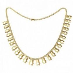 Gargantilla oro 18k Mayra 46cm. detalles brillo y diamantados colgando cierre pato