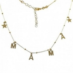 Gargantilla plata Ley 925m dorada MAMÁ 42cm. estrellas cierre mosquetón mujer
