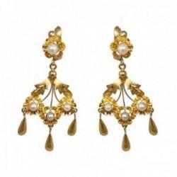 Pendientes oro 18k largos 45mm. mantilla arquillo perlas cultivadas cierre catalán mujer