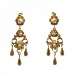 Pendientes oro 18k largos 45mm. mantilla arquillo perlas cultivadas pasadas cierre catalán mujer