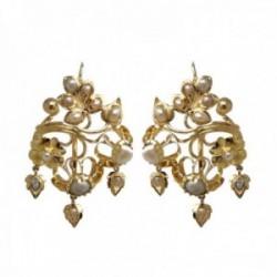 Pendientes oro 18k largos 35mm. mantilla arquillo perlas cultivadas barrocas cierre palillo cordobés