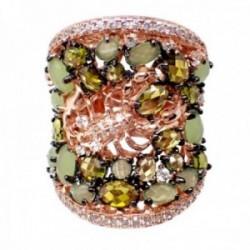 Sortija plata Ley 925m acabado rosa abierta escorpión semipreciosas cuarzo verde olivina circonitas