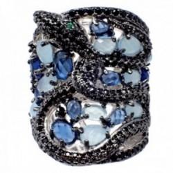 Sortija plata Ley 925m rodiada abierta serpiente semipreciosas topacio London blue cuarzo azul