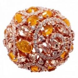 Sortija plata Ley 925m acabado rosa abierta semipreciosas topacios naranjas citrinos circonitas